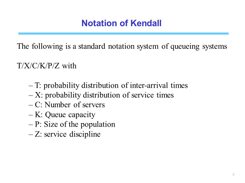 Notation of Kendall The following is a standard notation system of queueing systems. T/X/C/K/P/Z with.