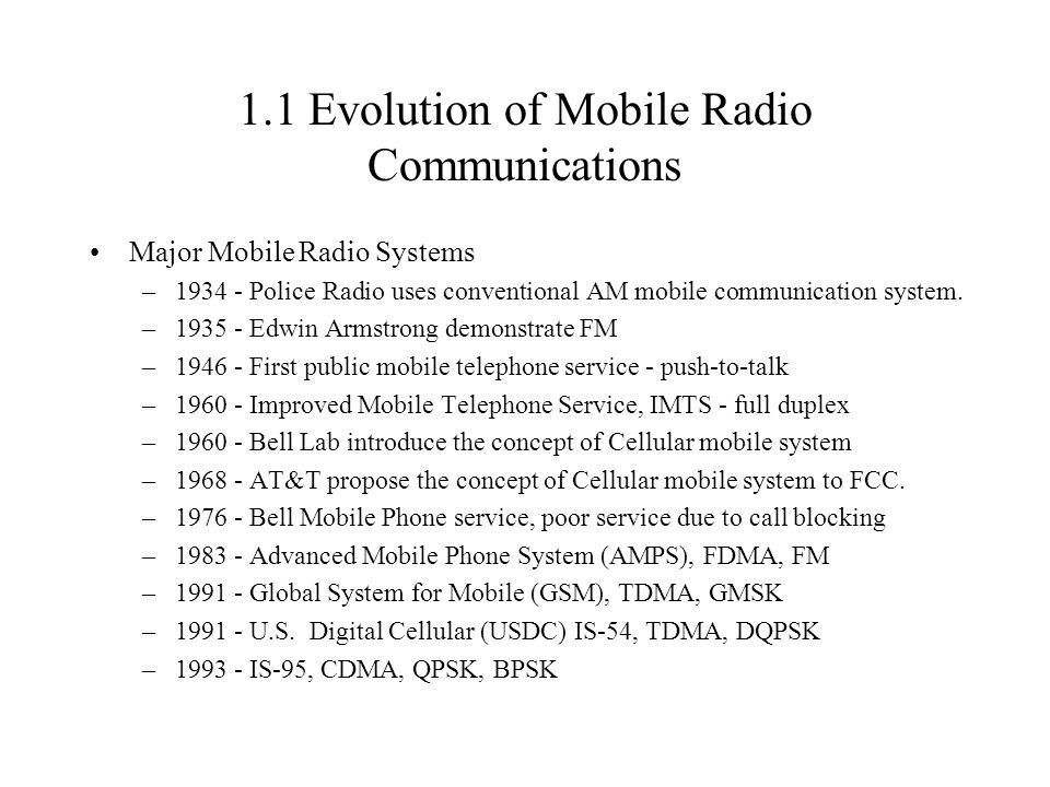 1.1 Evolution of Mobile Radio Communications