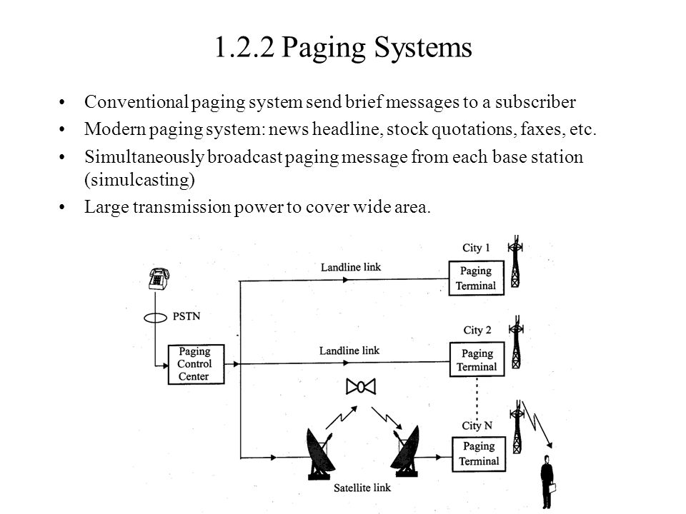 1.2.2 Paging Systems Conventional paging system send brief messages to a subscriber.