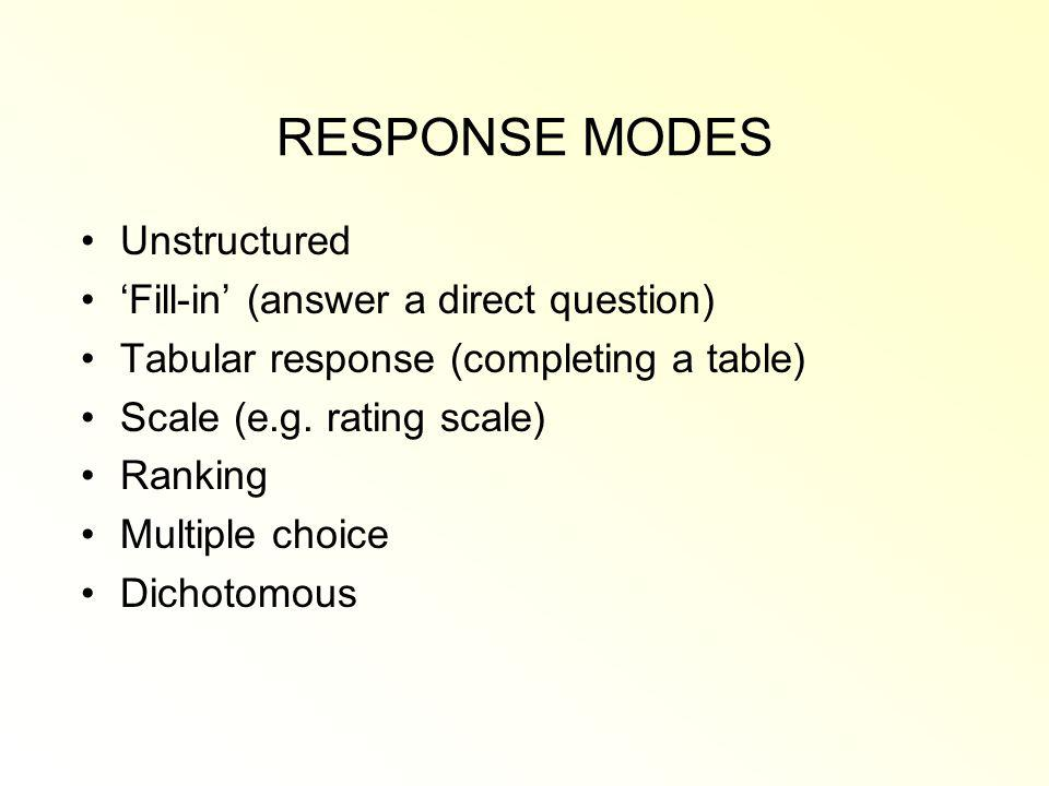 RESPONSE MODES Unstructured 'Fill-in' (answer a direct question)