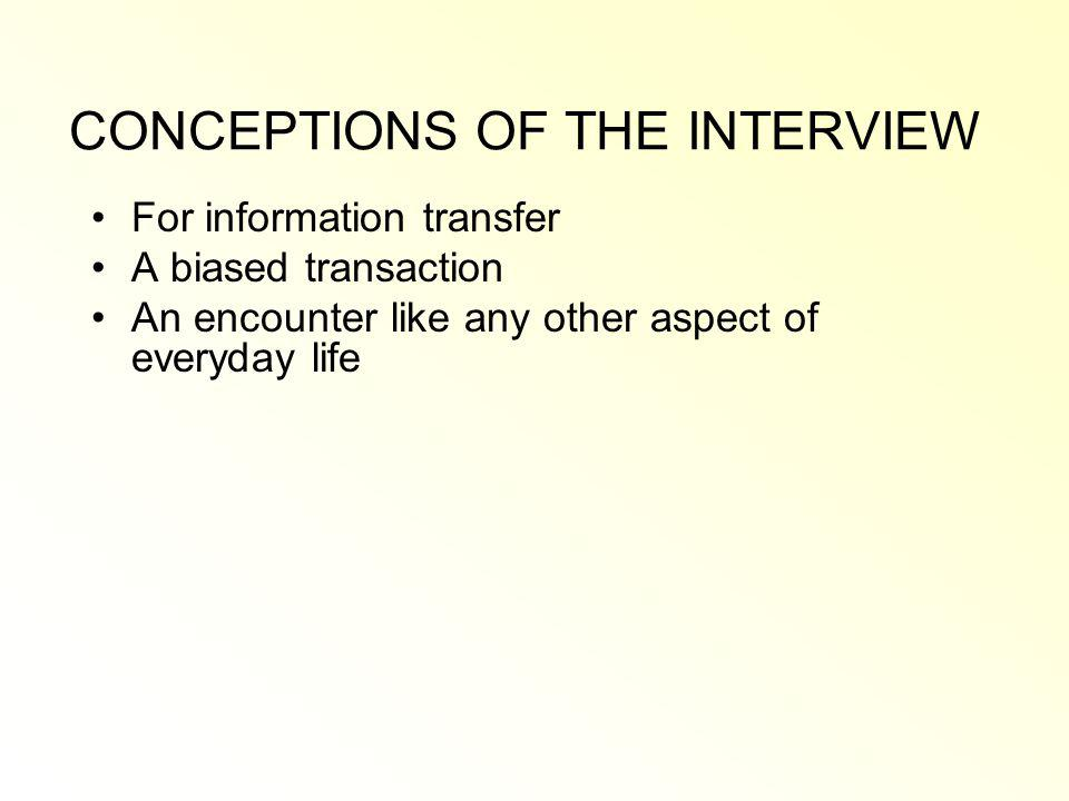 CONCEPTIONS OF THE INTERVIEW