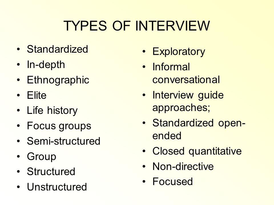 TYPES OF INTERVIEW Standardized Exploratory In-depth