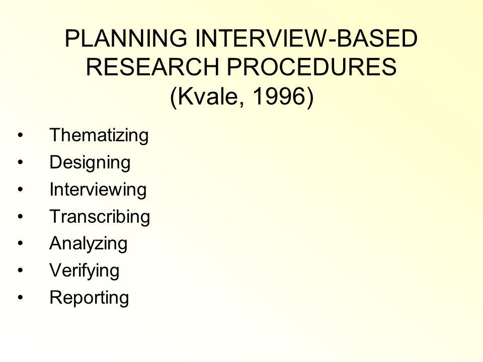 PLANNING INTERVIEW-BASED RESEARCH PROCEDURES (Kvale, 1996)