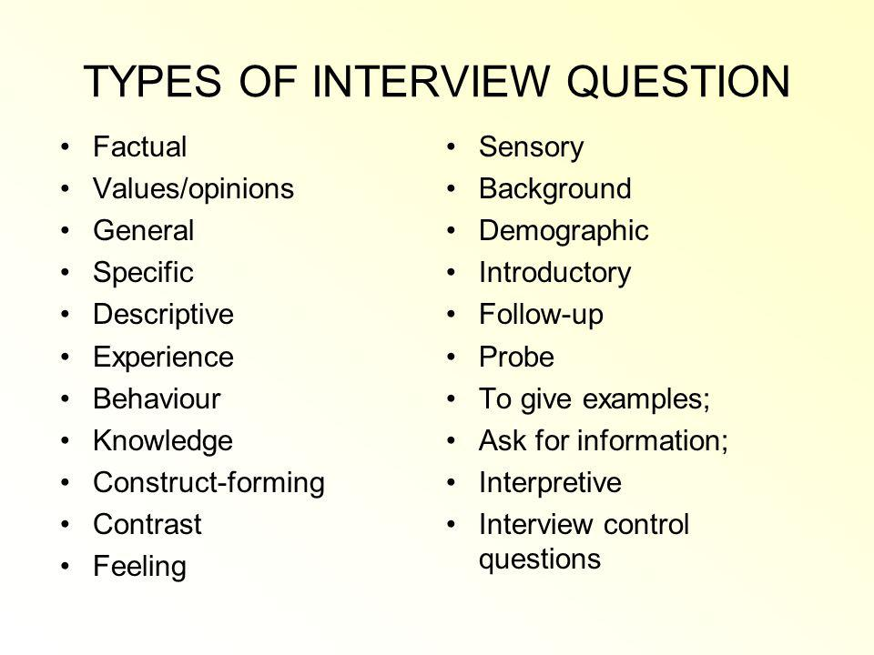 TYPES OF INTERVIEW QUESTION