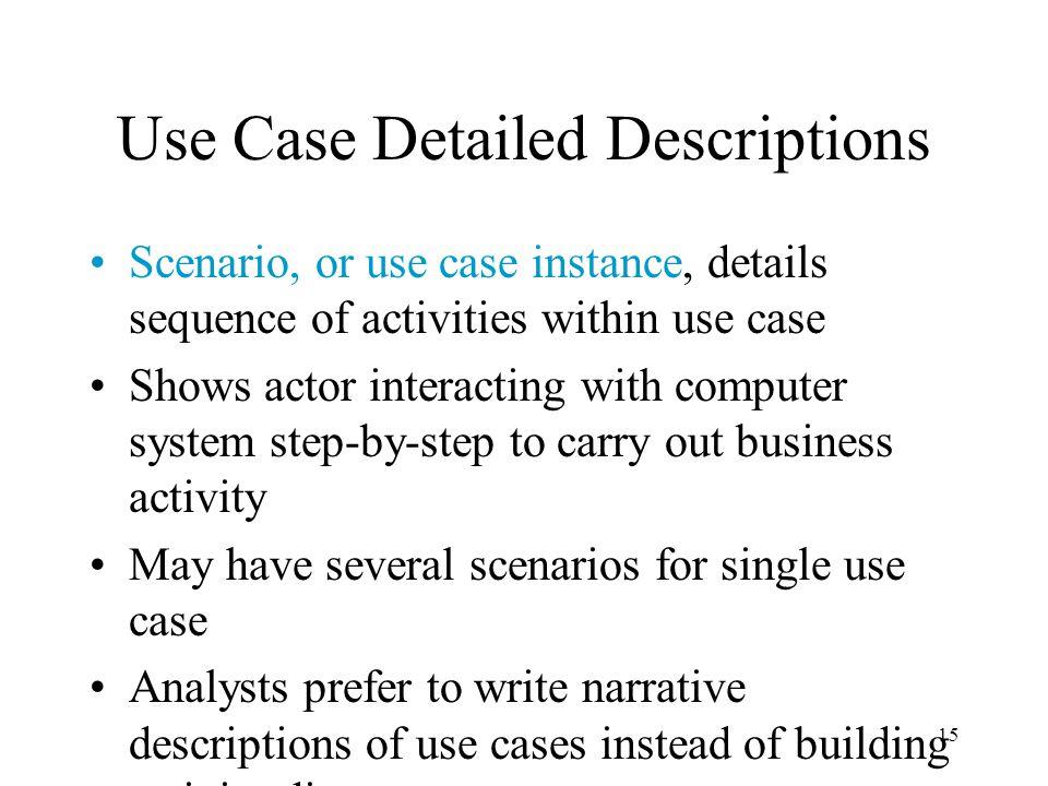 Use Case Detailed Descriptions