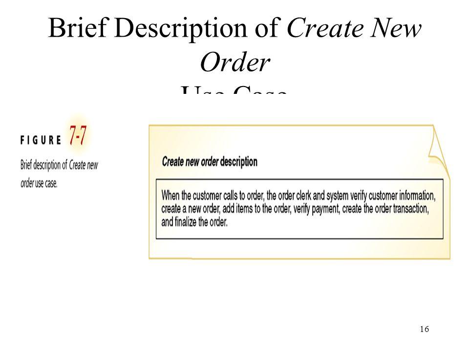 Brief Description of Create New Order Use Case