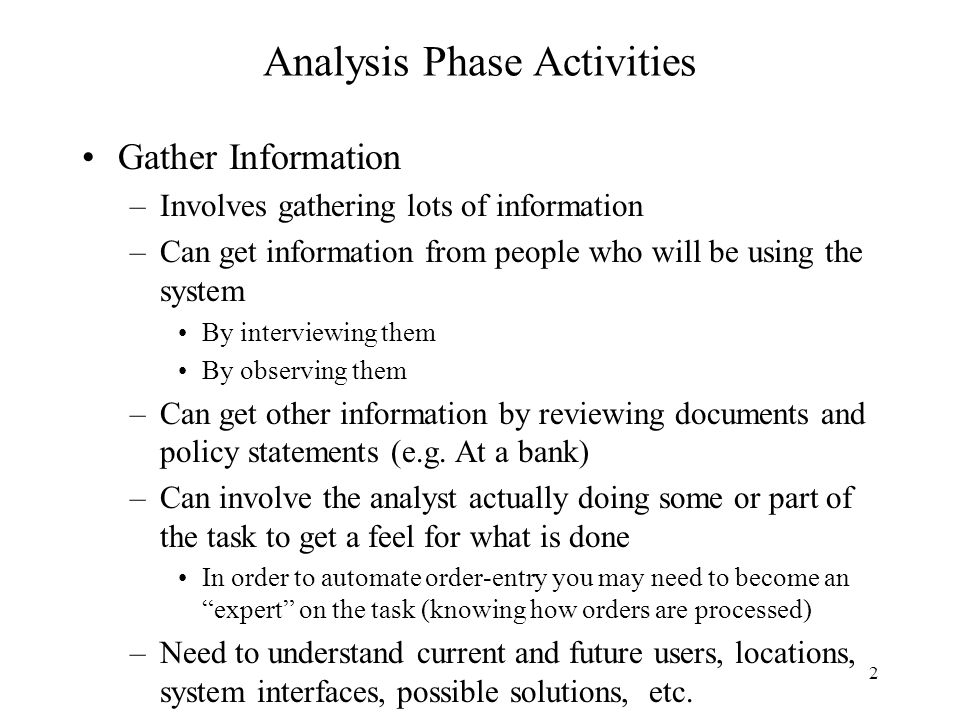 Analysis Phase Activities