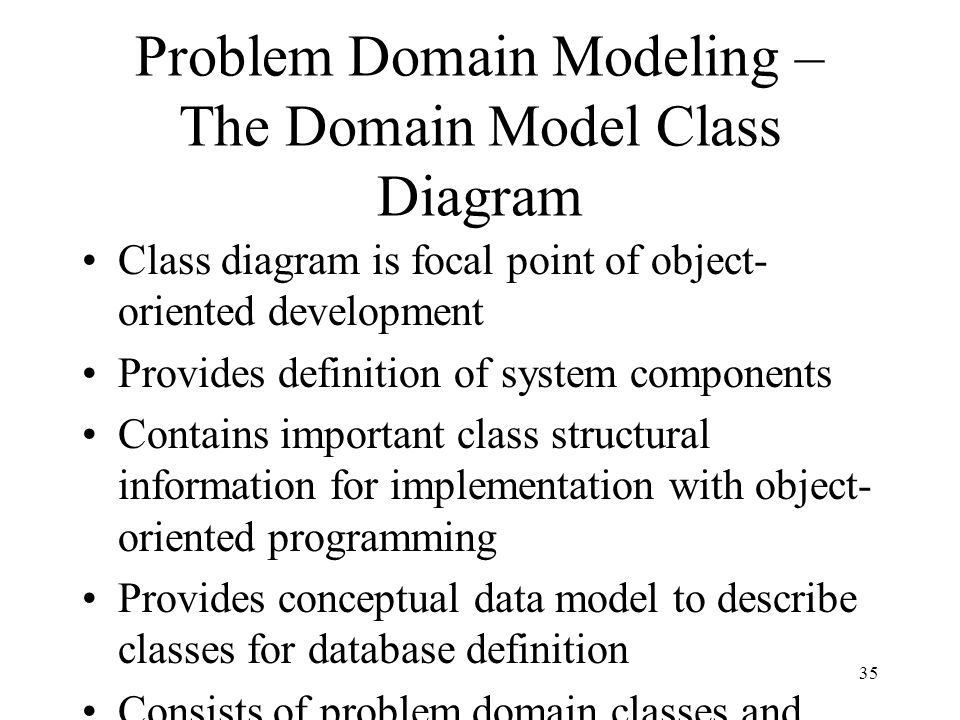 Problem Domain Modeling – The Domain Model Class Diagram