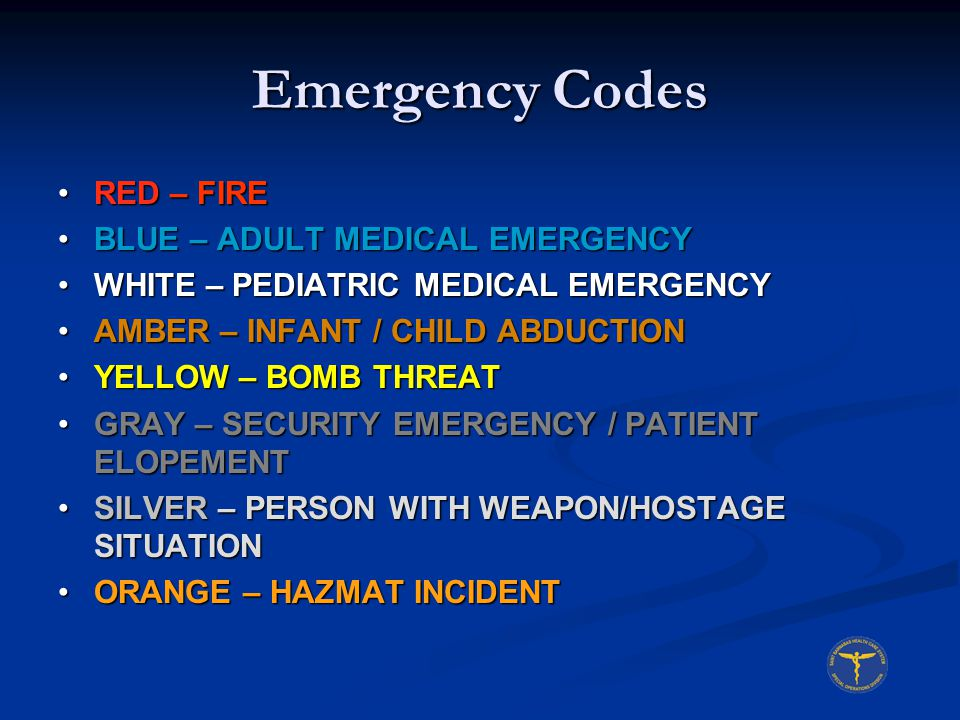 Emergency Codes RED – FIRE BLUE – ADULT MEDICAL EMERGENCY
