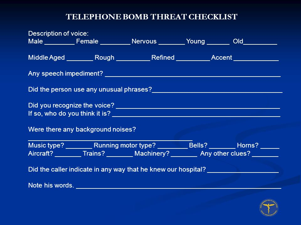 TELEPHONE BOMB THREAT CHECKLIST