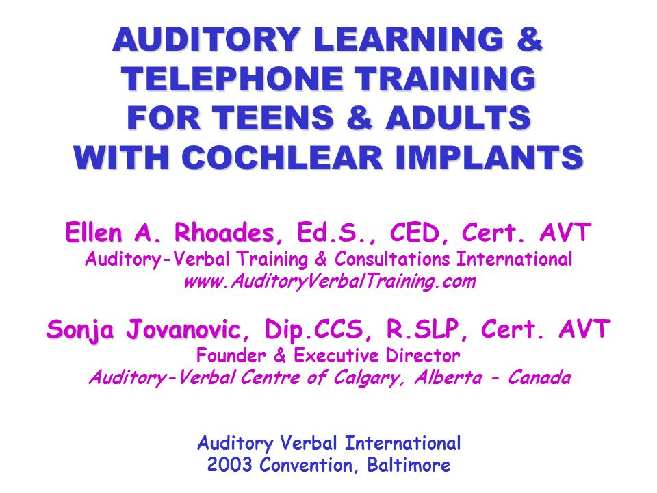 AUDITORY LEARNING & TELEPHONE TRAINING FOR TEENS & ADULTS