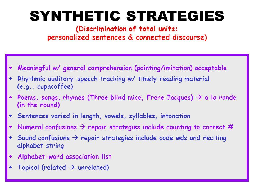 SYNTHETIC STRATEGIES (Discrimination of total units: