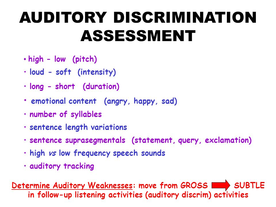AUDITORY DISCRIMINATION ASSESSMENT