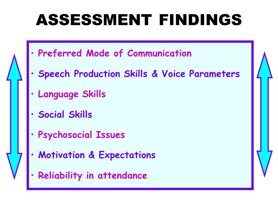 ASSESSMENT FINDINGS Preferred Mode of Communication