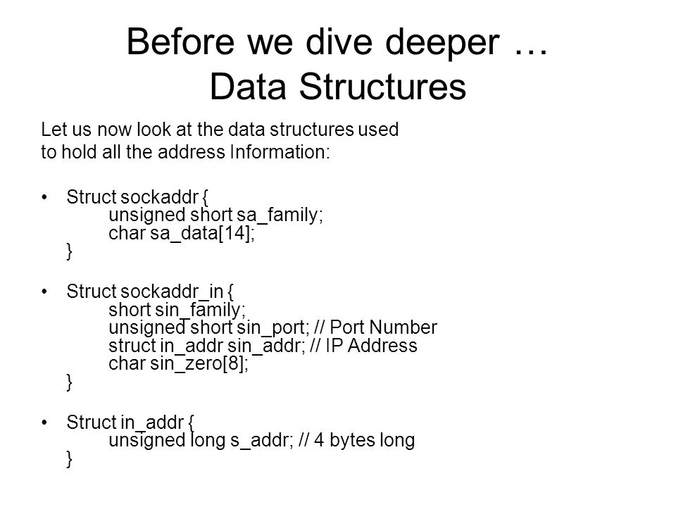 Before we dive deeper … Data Structures