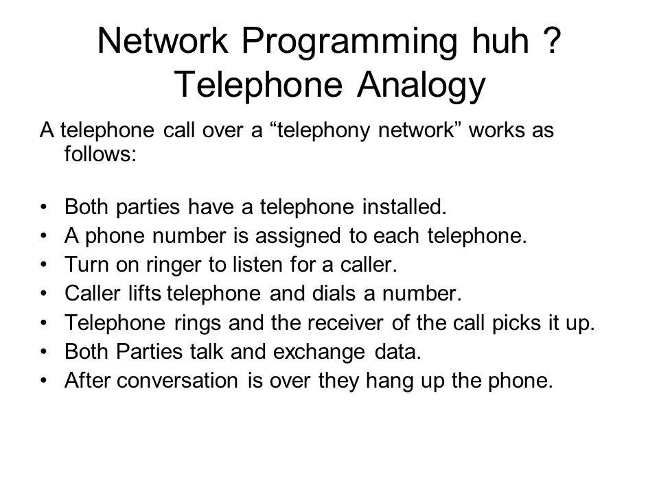 Network Programming huh Telephone Analogy