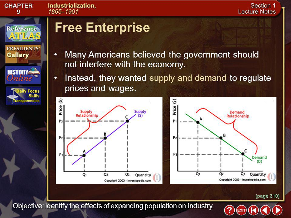 Free Enterprise Many Americans believed the government should not interfere with the economy.