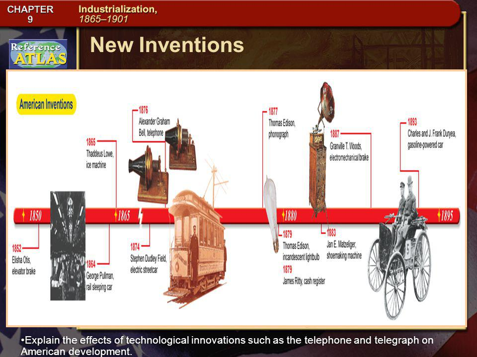 New Inventions Explain the effects of technological innovations such as the telephone and telegraph on American development.