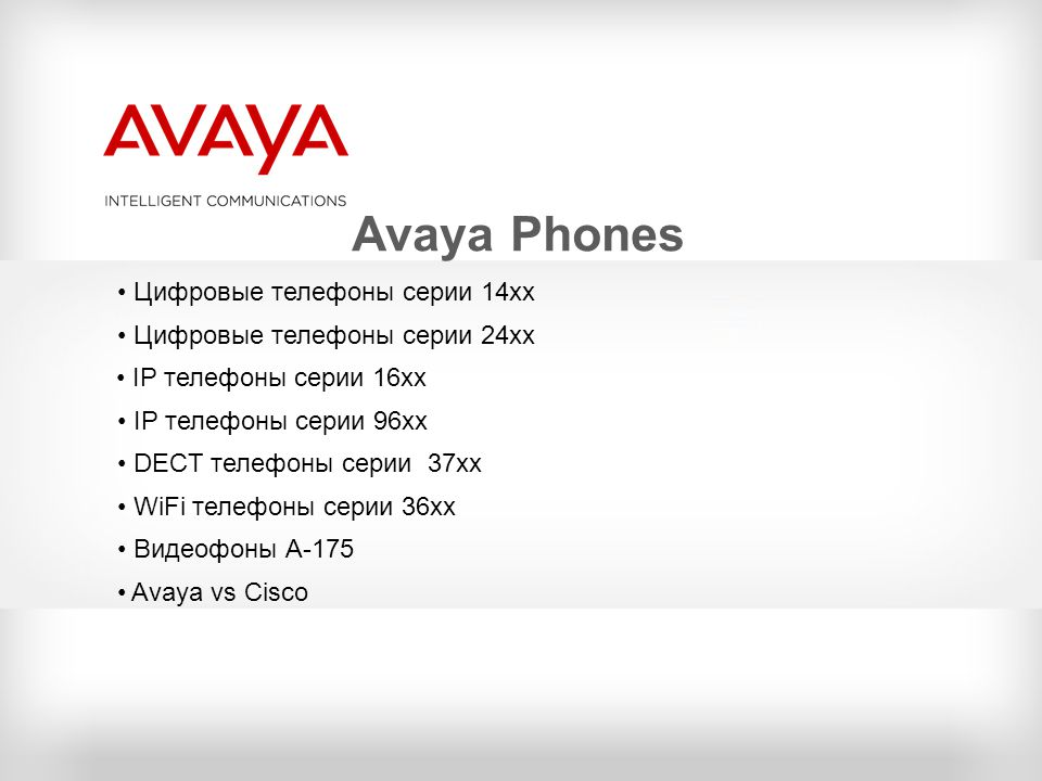 Avaya Phones Цифровые телефоны серии 14хх Цифровые телефоны серии 24хх