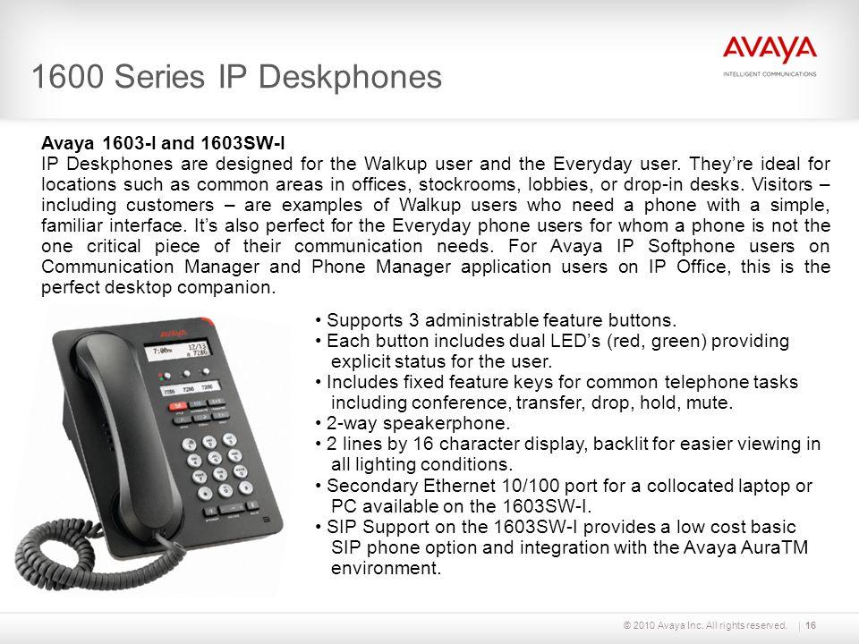 1600 Series IP Deskphones Avaya 1603-I and 1603SW-I