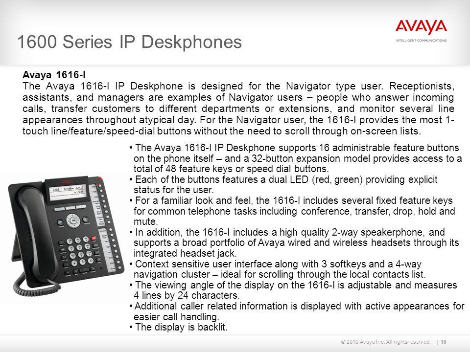 1600 Series IP Deskphones Avaya 1616-I