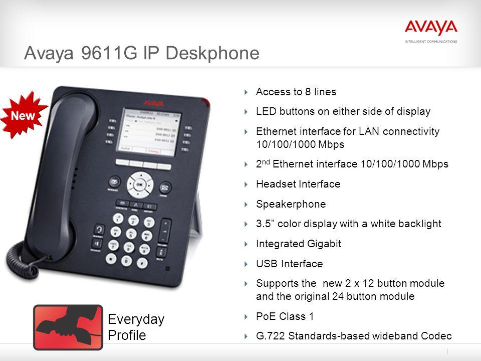 Avaya 9611G IP Deskphone Everyday Profile New Access to 8 lines