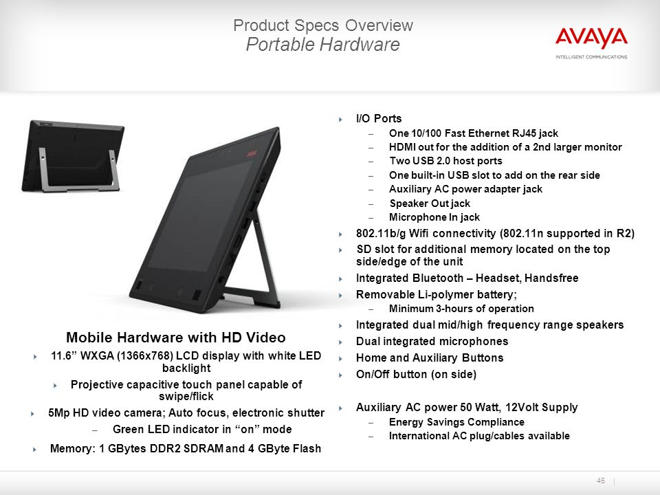 Portable Hardware Product Specs Overview Mobile Hardware with HD Video