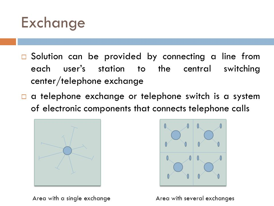 Exchange Solution can be provided by connecting a line from each user's station to the central switching center/telephone exchange.