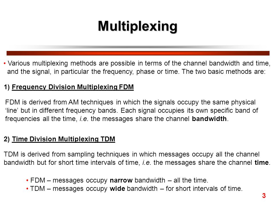 Multiplexing Various multiplexing methods are possible in terms of the channel bandwidth and time,