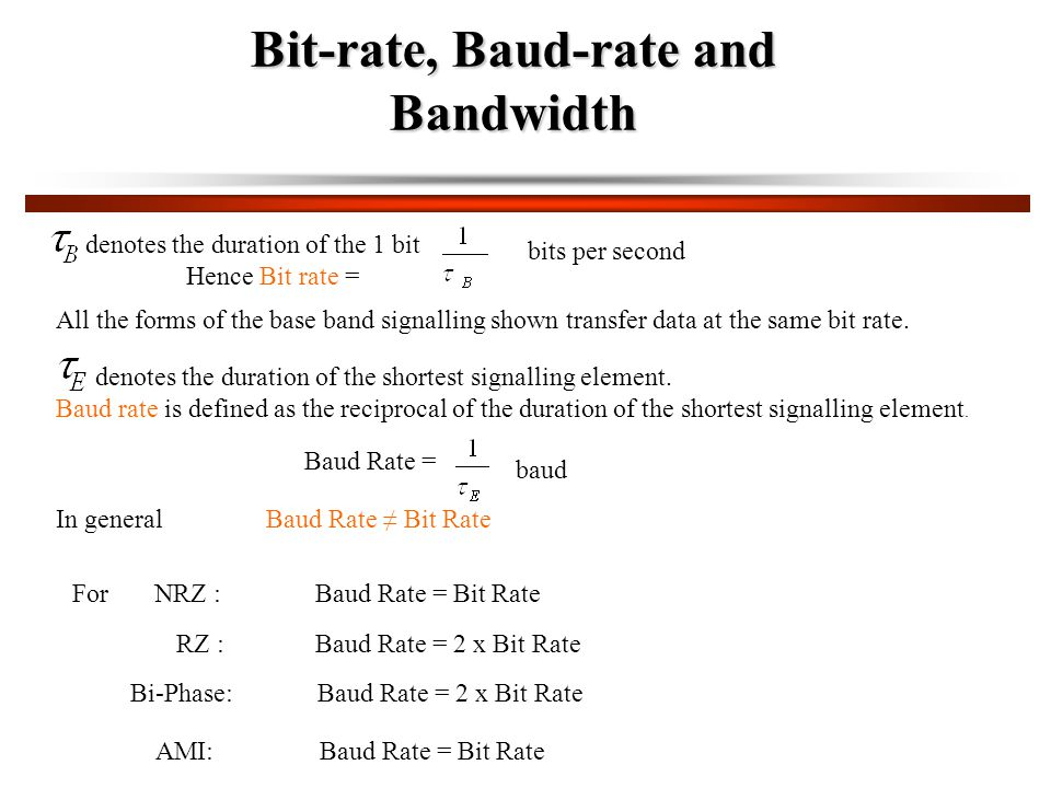 Bit-rate, Baud-rate and Bandwidth