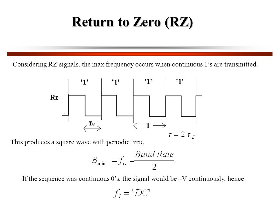 Return to Zero (RZ) Considering RZ signals, the max frequency occurs when continuous 1's are transmitted.