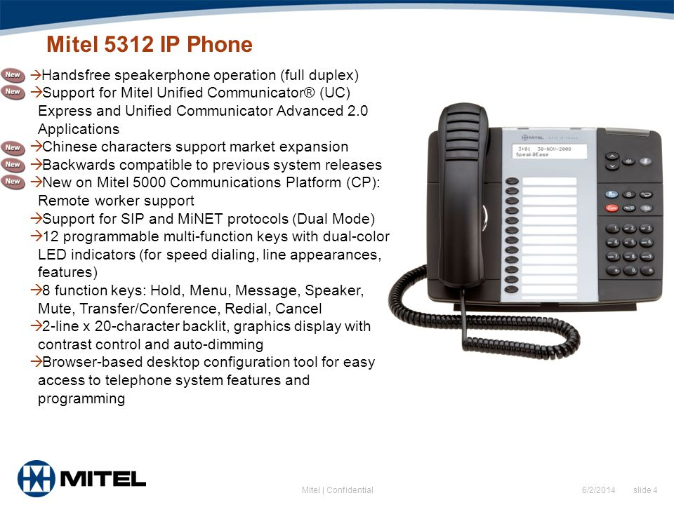 Mitel 5312 IP Phone Handsfree speakerphone operation (full duplex)