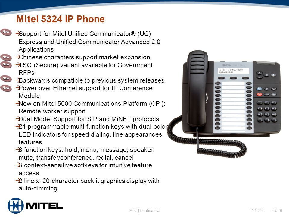 Mitel 5324 IP Phone Support for Mitel Unified Communicator® (UC) Express and Unified Communicator Advanced 2.0 Applications.