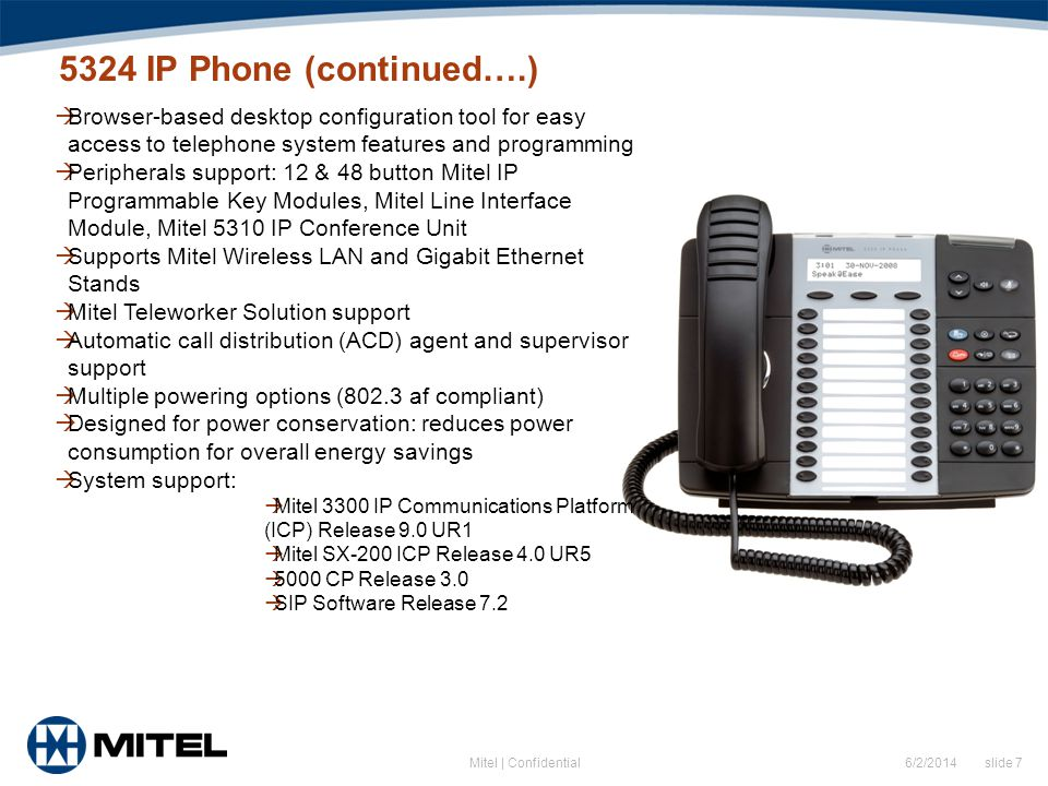 5324 IP Phone (continued….) Browser-based desktop configuration tool for easy access to telephone system features and programming.