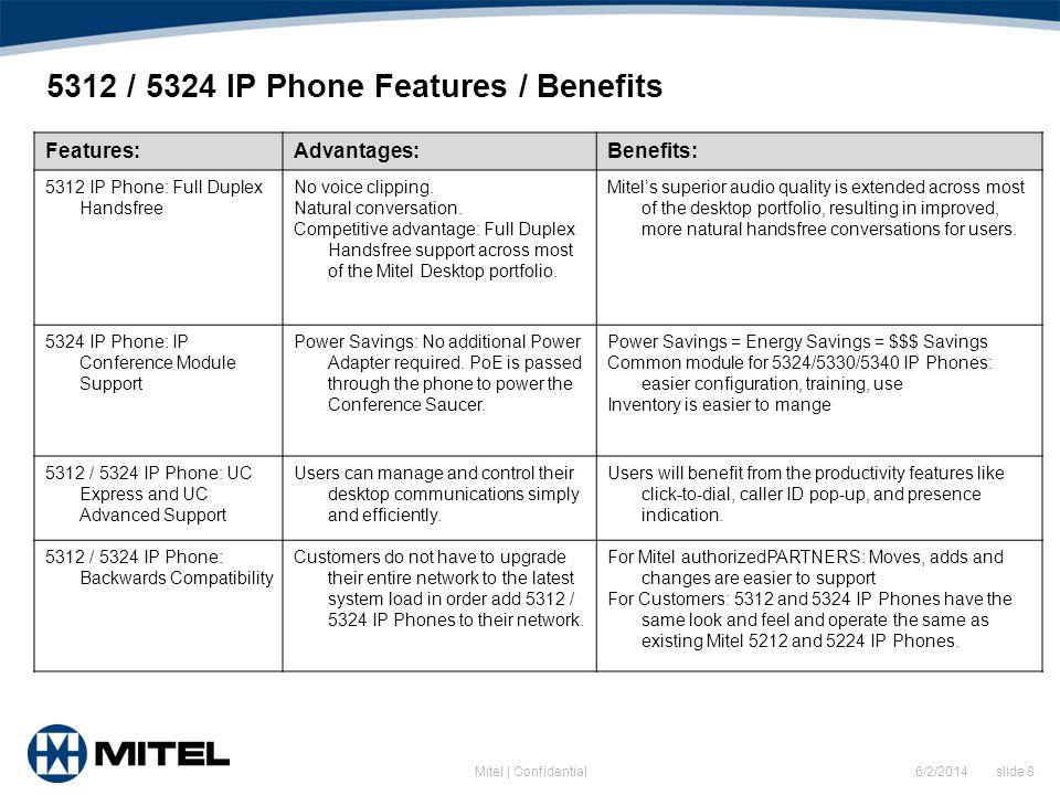 5312 / 5324 IP Phone Features / Benefits