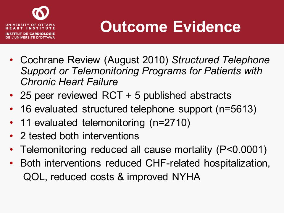 Outcome Evidence Cochrane Review (August 2010) Structured Telephone Support or Telemonitoring Programs for Patients with Chronic Heart Failure.