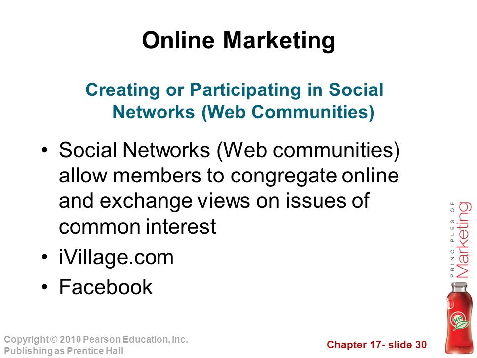 Creating or Participating in Social Networks (Web Communities)