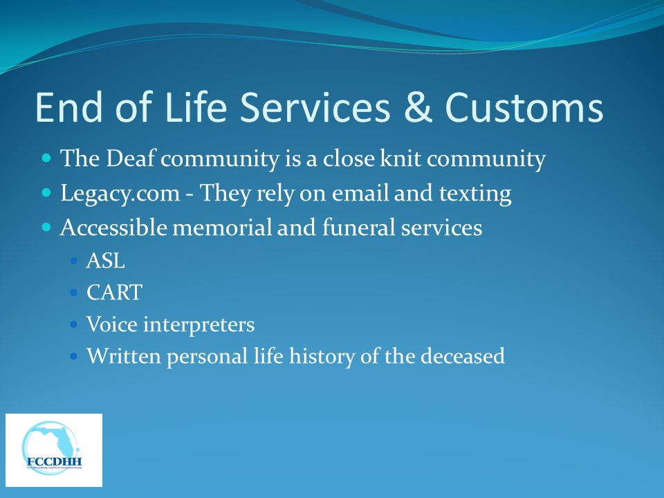 End of Life Services & Customs