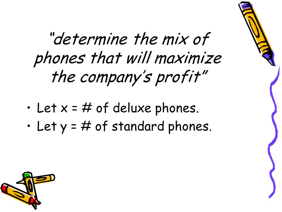 determine the mix of phones that will maximize the company's profit