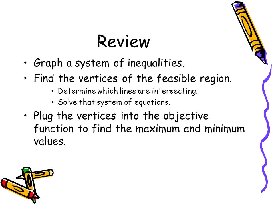 Review Graph a system of inequalities.