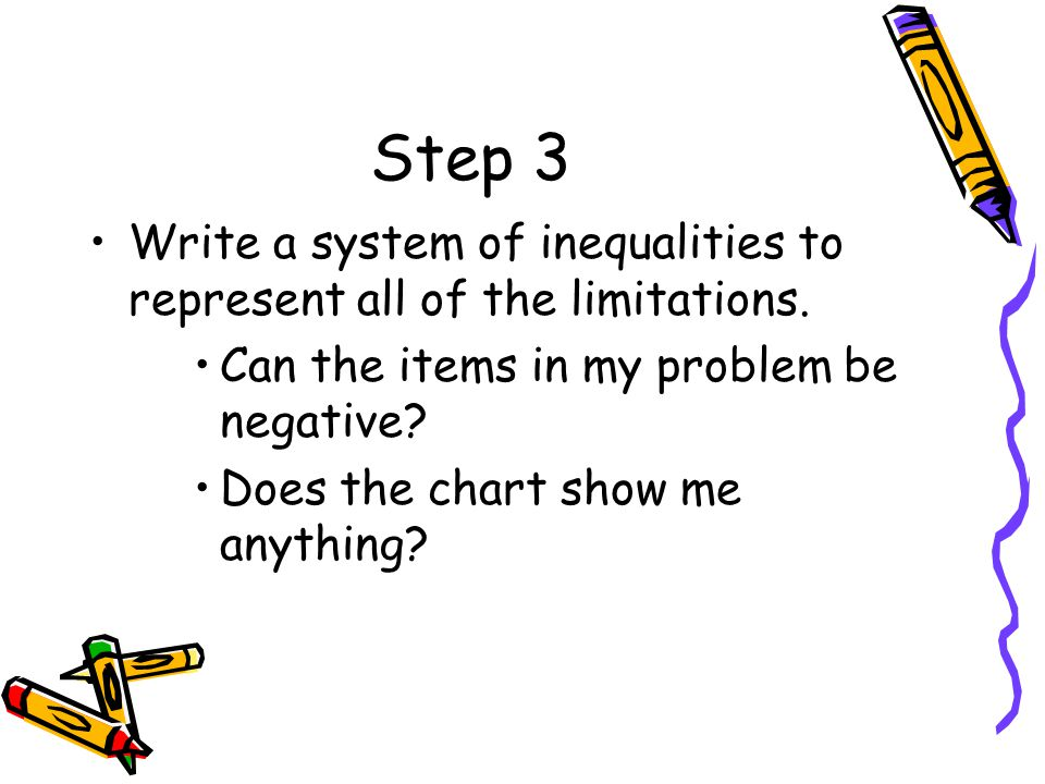 Step 3 Write a system of inequalities to represent all of the limitations. Can the items in my problem be negative