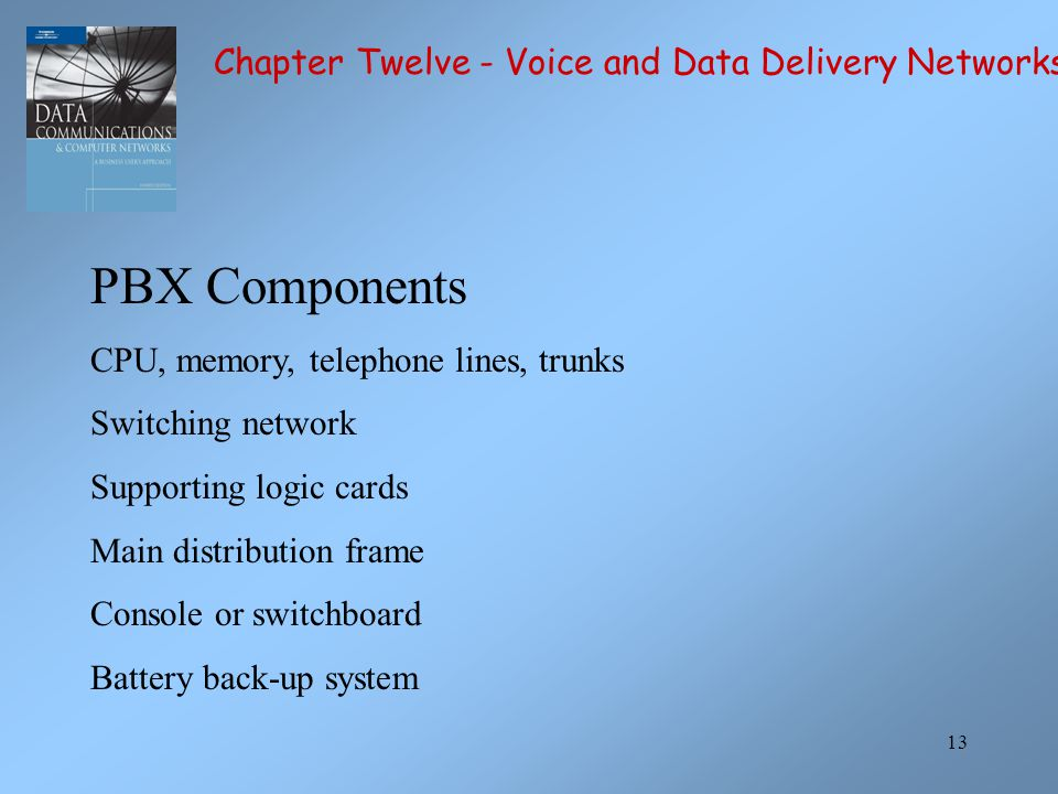 PBX Components Chapter Twelve - Voice and Data Delivery Networks