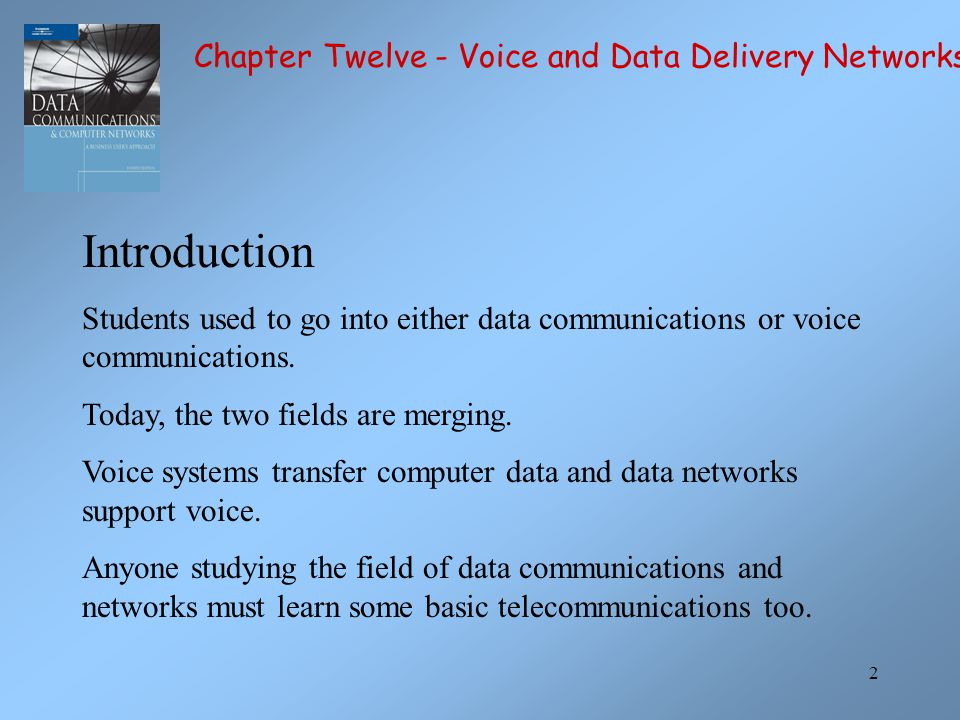 Introduction Chapter Twelve - Voice and Data Delivery Networks