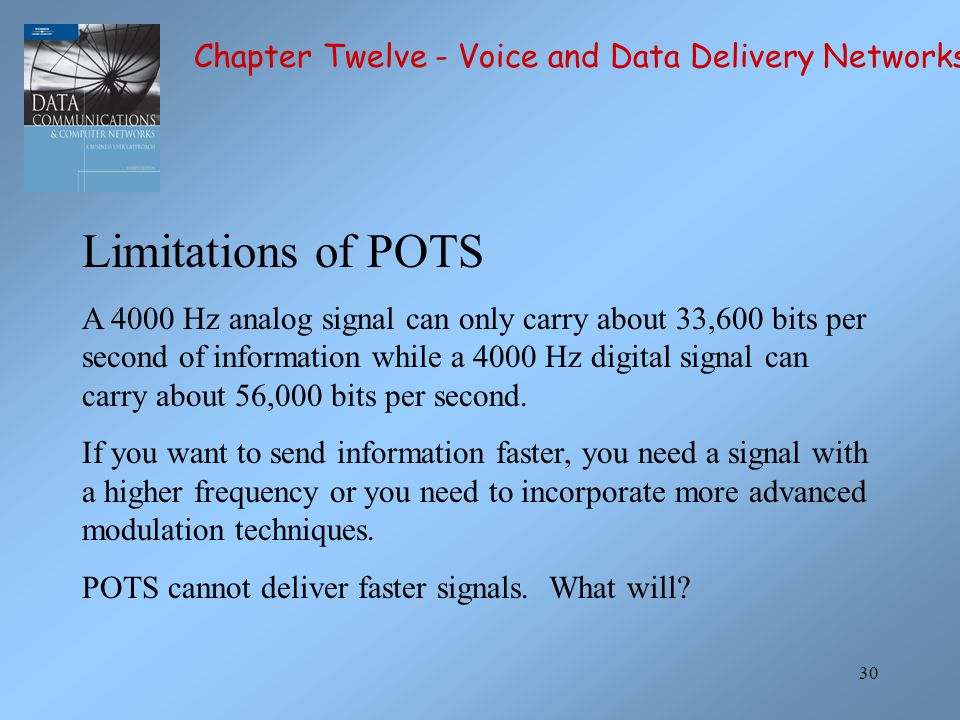 Limitations of POTS Chapter Twelve - Voice and Data Delivery Networks