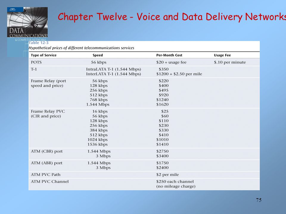 Chapter Twelve - Voice and Data Delivery Networks