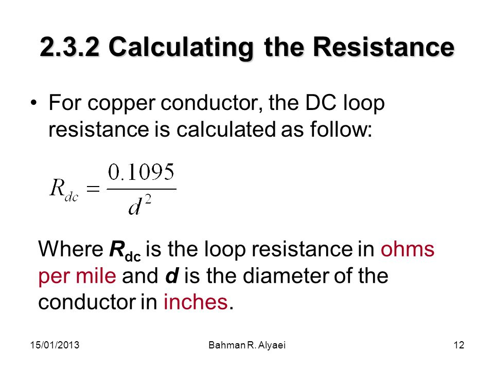 2.3.2 Calculating the Resistance