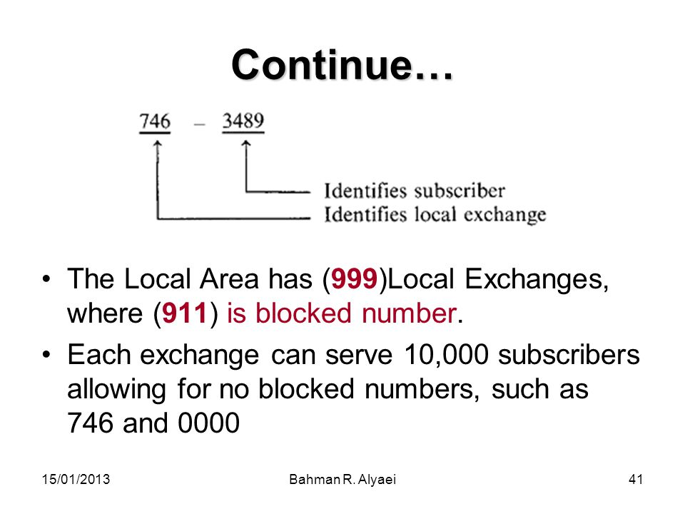 Continue… The Local Area has (999)Local Exchanges, where (911) is blocked number.