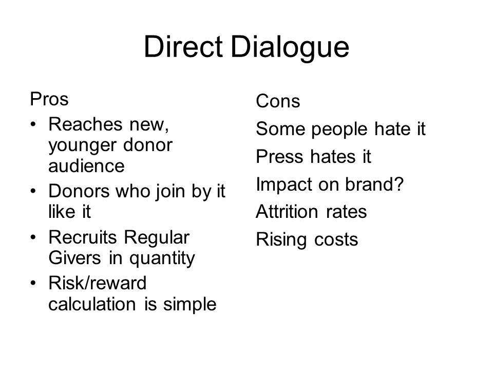 Direct Dialogue Pros Reaches new, younger donor audience