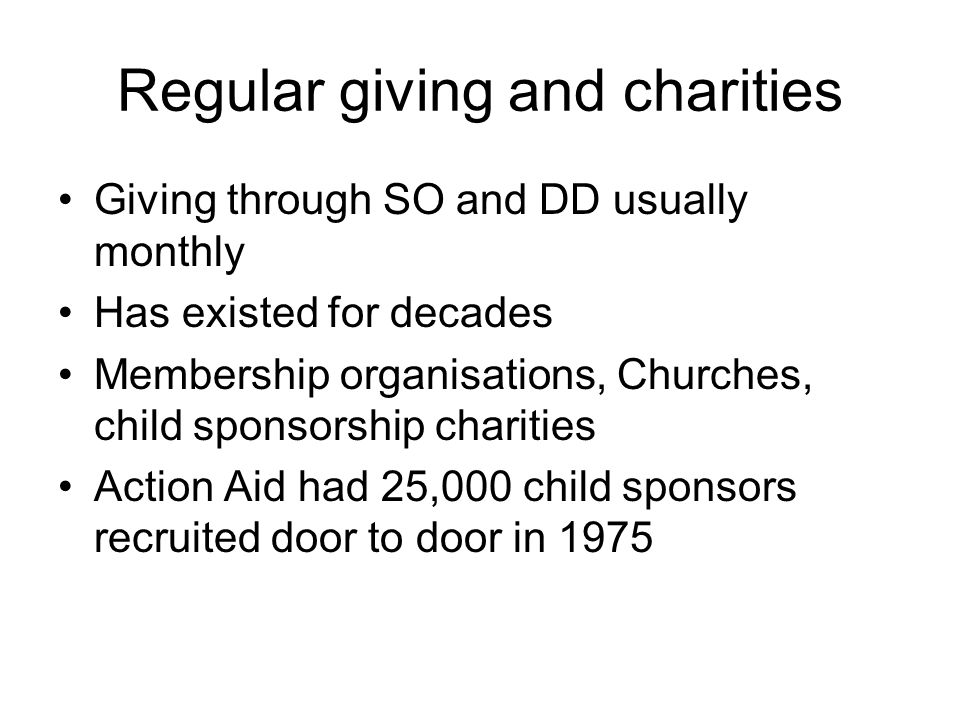 Regular giving and charities