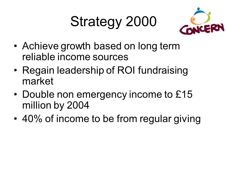 Strategy 2000 Achieve growth based on long term reliable income sources. Regain leadership of ROI fundraising market.